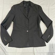Uec Theory Womens Wool Long Sleeve Two Button Blazer Dark Gray Size 6 Gorgeous Photo