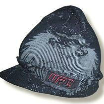 Ufc Griffin Logo Frayed Patch Black Billed Beanie Ski Hat New Ultimate Fighting Photo