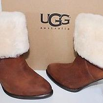Ugg 1005955 Short Layna Leather Wedge Sheepskin Boots Us 5 Chestnut Nib Photo