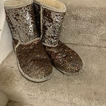 Ugg 3353 Classic Short Sparkle Sequin Boots Reversible Gold Bronze Silver sz.us6 Photo