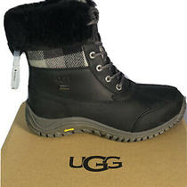 Ugg Adirondack Ii Plaid Black Sheepskin Snow Boots Us 8/uk 6.5/eu 39 New Photo