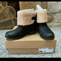 Ugg Aldon 1017486  Black Leather Fur Cuff Water-Resistant Womens  Boots New 7 Photo