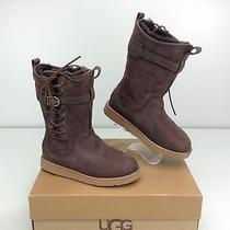Ugg Amelia Leather Chocolate Brown Corset Buckle Boots 6 B Photo