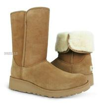 Ugg Amie Chestnut Brown Suede Fur Boots Womens Size 10 Nib Photo