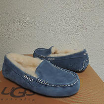 Ugg Ansley Dolphin Blue Suede/ Sheepskin Moccasin Slippers Us 6/ Eur 37 New Photo