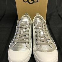 Ugg Aries Metallic Silver Canvas Lace-Up Fashion Sneakers Shoes Size 8.5 Women Photo