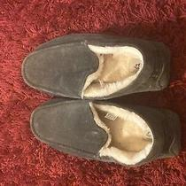 Ugg Ascot Leather Slippers Size 11 Mens Sheepskin 1101110 Charcoal Pre Owned Photo