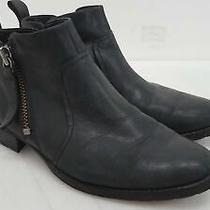 Ugg Aureo 1098314 Black Leather Side Zip Booties Women's Size 7.5 M Photo