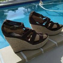 Ugg Australia 1000403 Lauri Brown Suede Wedge Platform Espadrille Sandals Sz 8.5 Photo