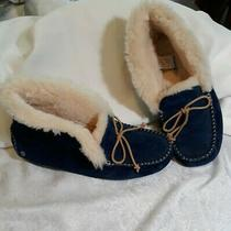 Ugg Australia 1004806 Alena Womens 8  Midnight Blue Suede Moccasin Slippers  Photo