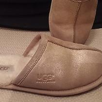Ugg Australia 100706 Women's Scuff Pearle Metallic Gold Leather Slippers Us 5  Photo