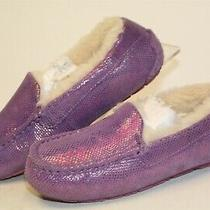 Ugg Australia 1007237k Big Kids Girls 5 35 Purple Suede Slippers Moccasin Shoes  Photo