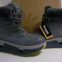 Ugg Australia 13 M Barklay Charcoal Ankle Winter Boots Leather New Mens Shoes Photo