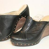 Ugg Australia 1716 Womens 9 40 Black Leather Wedges Mules Heels Shoes Photo