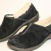 Ugg Australia 1757 Bettey Womens 8 39 Black Suede Sheepskin Clogs Flats Shoes Photo