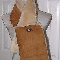Ugg Australia 4 Panel Sheepskin Shearling Classic Dyed Chestnut Scarf New Tags Photo
