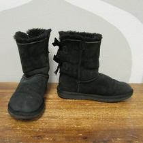 Ugg Australia 5 Black Leather Shearling Bailey Bow Ii Womens Comfort Boots Photo