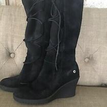 Ugg Australia 5596 Elsey Black  Lace Up Shearling Lined Wedge Boots Women's Us 6 Photo