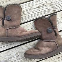 Ugg Australia 5803 Bailey Button Brown Suede Sheepskin Boots Size 8 W Womens Photo