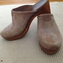 Ugg Australia Abbie Size 8 Brown Suede Wooden Heel Clog Photo