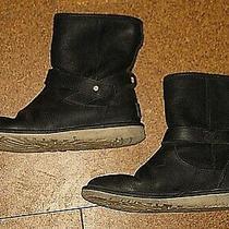 Ugg Australia Anali 1007139 Black Leather Sheepskin Boots Women's Girl's 5 37 Photo
