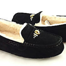 Ugg Australia Ansley Chunky Crystals Black Fur Slippers Size 7 New in Box Photo