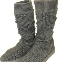 Ugg Australia Argyle Knit 5879 Womens 8 39 Black Knit Pull on Mid Calf Boots Photo