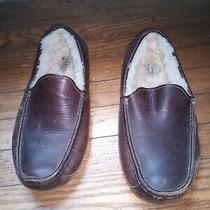 Ugg Australia Ascot Brown Leather Shearling Slippers Mens Size 9 Eur 42 Photo