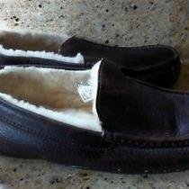 Ugg Australia Ascot China Tea Brown Leather Fur Slippers 5379 Moccasins Mn Sz 11 Photo