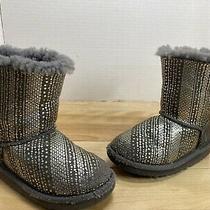 Ugg Australia Bailey Bow Ii Metallic Grey Classic Short Boots Kids Size10 Uk9 Photo