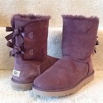 Ugg Australia Bailey Bow Purple Sheepskin Women's Boots 10 Excellent Photo
