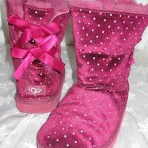 Ugg Australia Bailey Bow Starlight Dot 1014496k Youth Girls Magenta Boots Sz 2 Photo