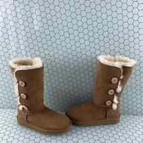 Ugg Australia Bailey Button Triplet Chestnut Suede Fur Lined Boots Girls Size 3 Photo