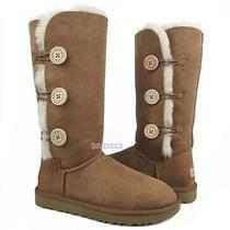 Ugg Australia Bailey Button Triplet Ii Chestnut Fur Boots Womens Size 6 Nib Photo