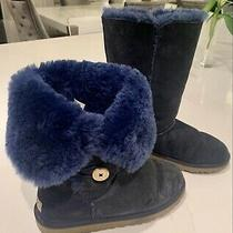 Ugg Australia Bailey Button Triplet Youth Girls Us 6 Women Us 8 Boots Navy Htf Photo