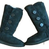Ugg Australia Black Bailey 1873 Button Triplet Sheepskin Boots  Womens 8 Photo