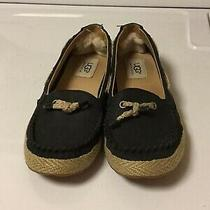 Ugg Australia Black Leather With Rope Detailing Loafers Size 6 Womens Photo