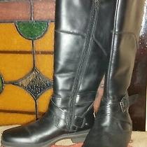 Ugg Australia Black Leather Wool Lined Knee High Boots Size 5 Photo