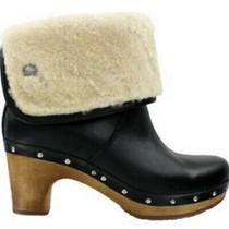 Ugg Australia Black Shearling Lynnea Leather Style 1958 Boots Booties Clogs Sz 7 Photo