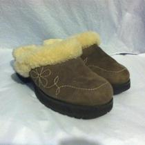 Ugg Australia Blossom Taupe Sheepskin Clogs 6m Photo