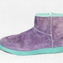 Ugg Australia Breaker Purple Suede Teal Trim Ankle Booties Boots Girls 6 Photo