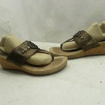 Ugg Australia Bronze Metallic Thong Cork Wedge Heel Sandals Womens Sz 7 1009853  Photo