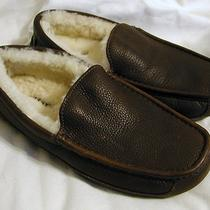Ugg Australia Brown Ascot Leather Shearling Slippers Mis-Match Sz 7/8  New 120 Photo