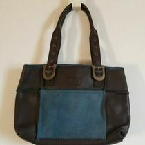 Ugg Australia Brown Blue Leather Suede Tote Bag Purse Photo