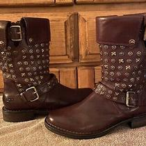 Ugg Australia Brown Leather Conor 1003605 Studded Motorcycle Boots Size 8 Photo