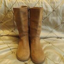 Ugg Australia Brown Leather Sheepskin Women Snow Boots- Size 5 Photo