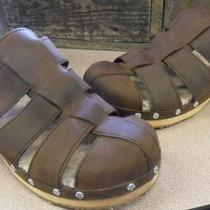 Ugg Australia Brown Leather & Wooden Clog Sandals 9m Photo