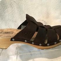 Ugg Australia Brown Nubuck Leather Slide Mules Womens 9 F10005l Slip on Casual Photo