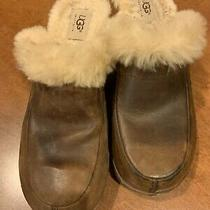 Ugg Australia Brown Suede Mules Sherpa Lined Clogs Wood Soles Stud Trim Size 8 Photo