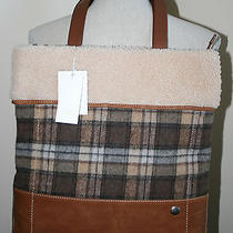 Ugg Australia Cameron Brownstone Plaid Tote Bag New Nwt Handbag Te026 Purse Photo